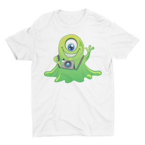 Smile Please by yllow the alien- Short Sleeve White T-Shirt For Kids - stylewati.com