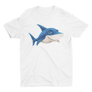 Blauee the shark - Short Sleeve White T-Shirt For Kids - stylewati.com