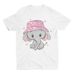 Cute Elephant Baby - Short Sleeve White Color T-Shirt For Kids - stylewati.com