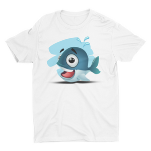Blue whale - Short Sleeve White T-Shirt For Kids - stylewati.com