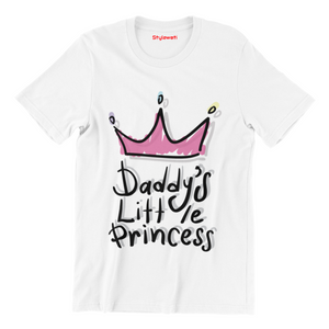 Daddy's Little Princess - White Color Short Sleeve T-Shirt For Girls - stylewati.com