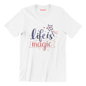 Life Is Magic - White Color Short Sleeve T-Shirt For Kids - stylewati.com