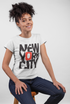 New York City ! White Cotton T-Shirt For Girls