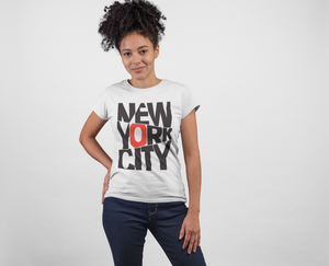 New York City ! White Cotton T-Shirt For Girls - stylewati.com