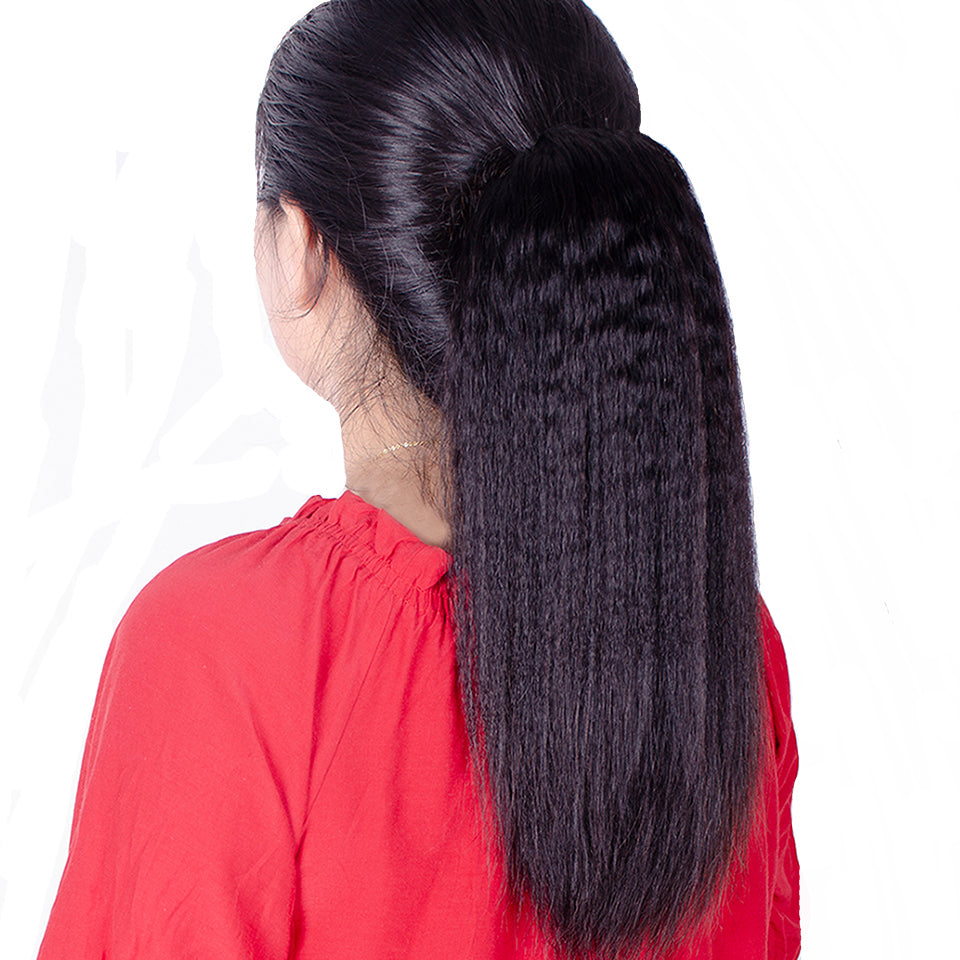 Afro kinky straight drawstring human hair ponytail - Ziling-Hair