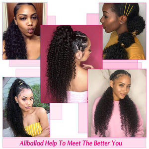 afro kinky curly drawstring human hair ponytail - Ziling-Hair