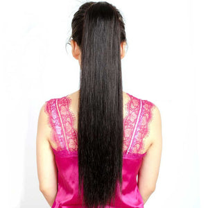 Straight drawstring human hair ponytail - Ziling-Hair