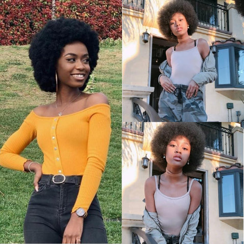 13*4 lace front afro puff kinky curly human hair wig - Ziling-Hair