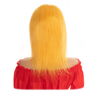 short full lace yellow remy human hair wig - Ziling-Hair