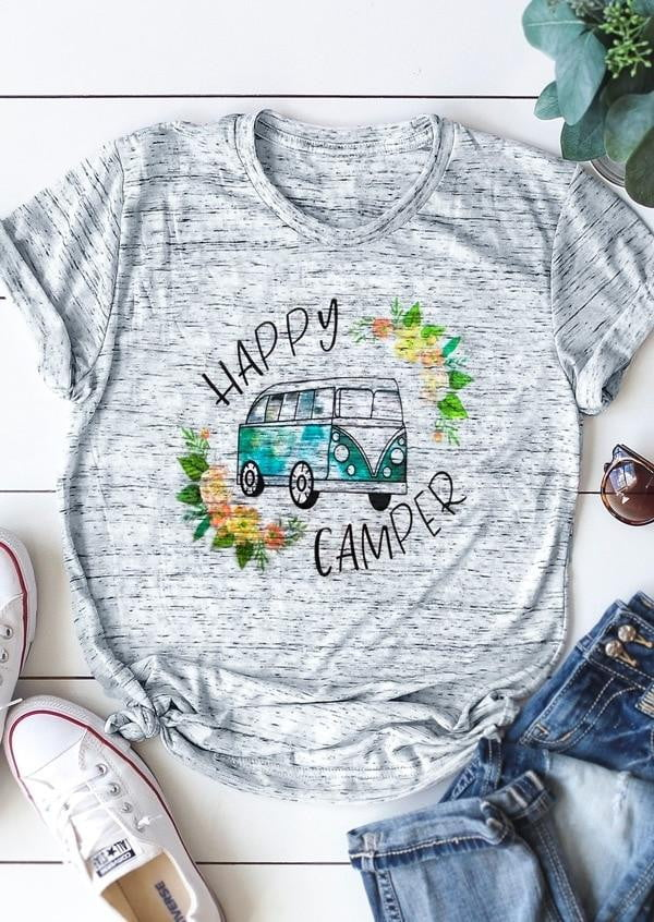 Floral Happy Camper Shirt - Inspire Hero