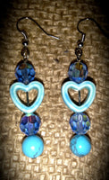Crystal Blue gemstones with Turquoise colored Hearts and Beads Item#150