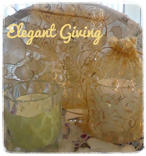 Elegant Giving / Golden Damask drawstring bags for small candles only