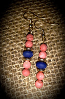 Coral Glass Beads Blue and Gold accents, Item #091
