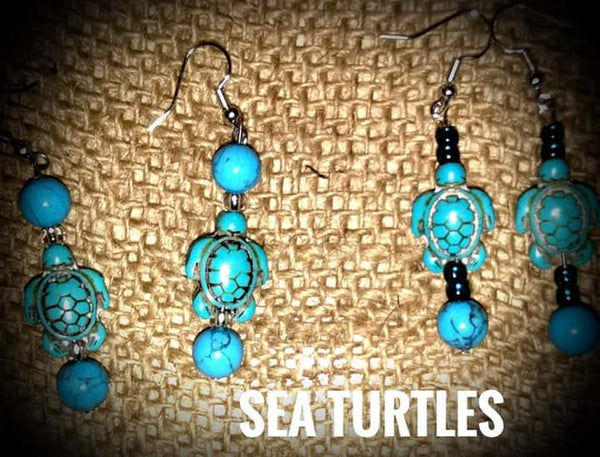 Sea Turtles w/faux Turquoise Round Beads, Item #096