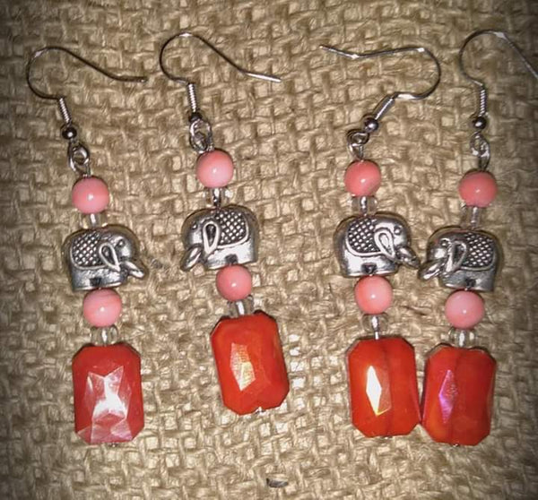 Coral Colored Beads Silver Elephants.Item#099