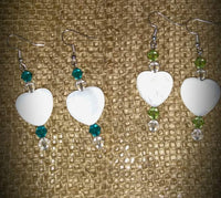 Shell Heart Earrings w/Swarovski Crystals, #213