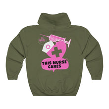 Load image into Gallery viewer, This Nurse Cares Hooded Sweatshirt