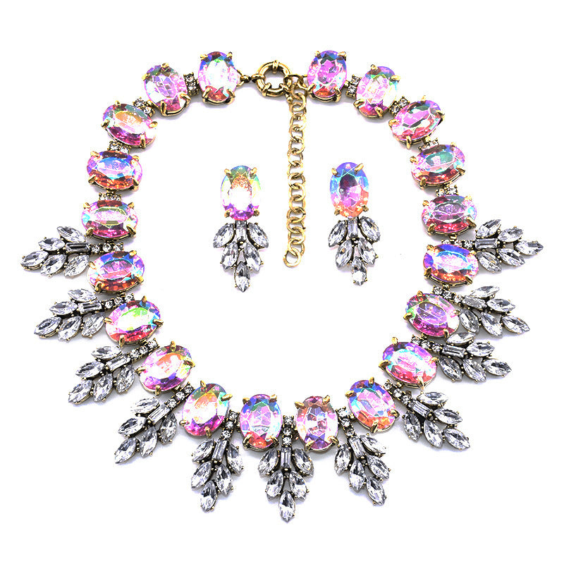 Fashion Handmade Clip Diamond Crystal Necklace Earring Set