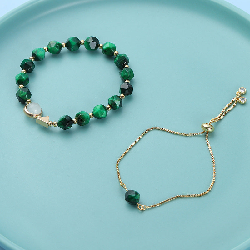 Light luxury green tiger's eye bracelet 2 piece set