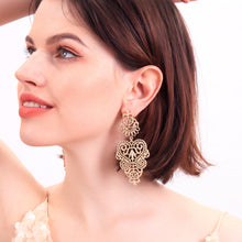 Load image into Gallery viewer, Vintage Alloy Hollow Flower Stud Earrings