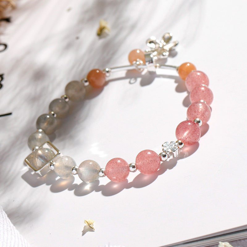 Strawberry Crystal Gray Moonlight Bracelet