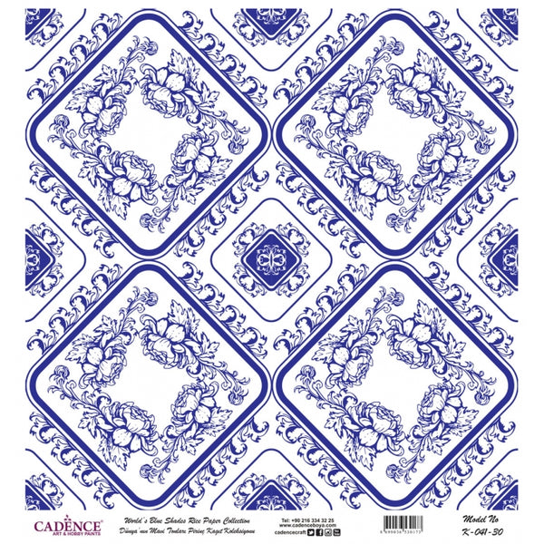 K041 World's Blue Shades Rice Paper