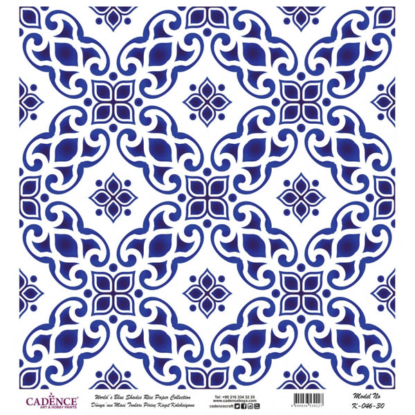 K046 World's Blue Shades Rice Paper