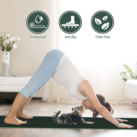 FrenzyBird 6mm TPE Yoga Mat with Carrying Strap and Alignment System - Dark Green
