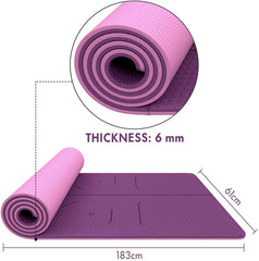 FrenzyBird 6mm TPE Yoga Mat with Carrying Strap and Alignment System - Deep Purple