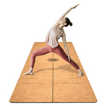 FrenzyBird 5mm Cork Yoga Mat with Carrying Strap and Alignment System