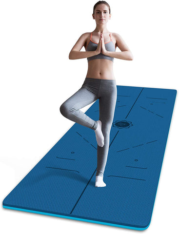 FrenzyBird 6mm TPE Yoga Mat with Carrying Strap and Alignment System - Dark Blue