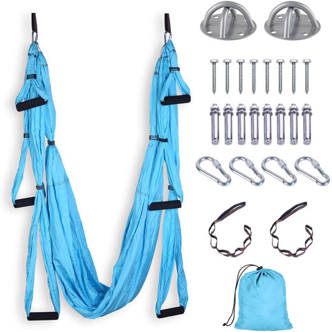 FrenzyBird Yoga Swing Yoga Flying Yoga Hammock with Ceiling Anchors for Gym Home Hanging - Blue