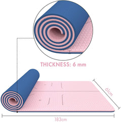 FrenzyBird 6mm TPE Yoga Mat with Carrying Strap and Alignment System - Light Pink
