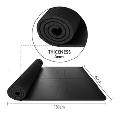FrenzyBird 5mm PU Rubber Yoga Mat with Carrying Strap and Alignment System - Black