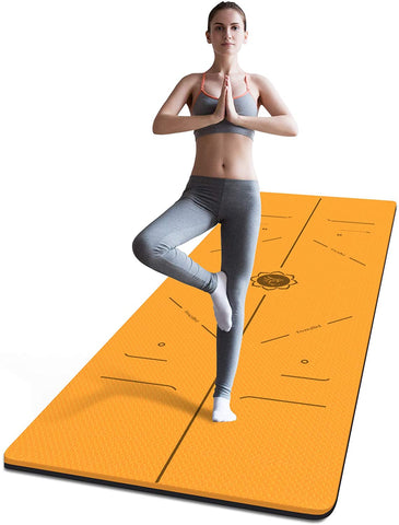 FrenzyBird 6mm TPE Yoga Mat with Carrying Strap and Alignment System - Orange
