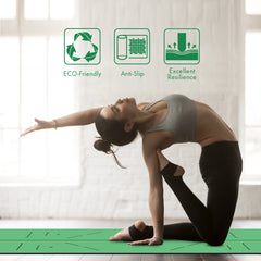 FrenzyBird 5mm PU Rubber Yoga Mat with Carrying Strap and Alignment System - Blackish Green