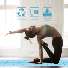 FrenzyBird 5mm PU Rubber Yoga Mat with Carrying Strap and Alignment System - Blue