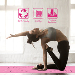 FrenzyBird 5mm PU Rubber Yoga Mat with Carrying Strap and Alignment System - Rose Red