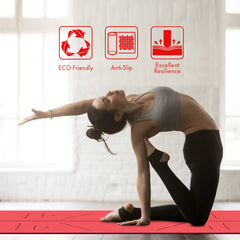 FrenzyBird 5mm PU Rubber Yoga Mat with Carrying Strap and Alignment System - Vermilion
