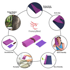 FrenzyBird 1mm Travel Yoga Mat/Towel with Mat Bind and Elastic String - Purple