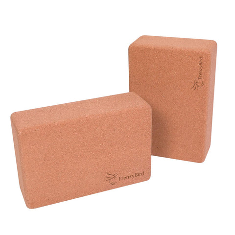 FrenzyBird Solid Cork Yoga Blocks High Density 2 Pack
