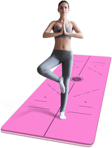 FrenzyBird 6mm TPE Yoga Mat with Carrying Strap and Alignment System - Rose Red