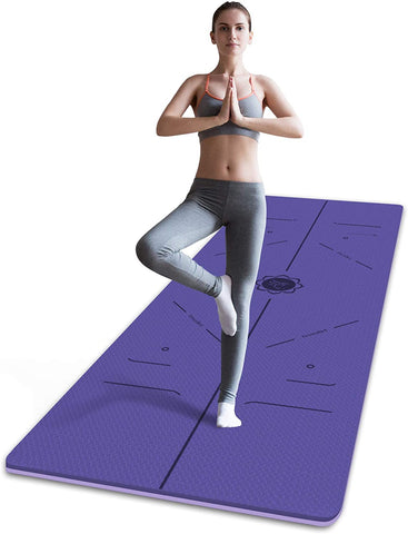 FrenzyBird 6mm TPE Yoga Mat with Carrying Strap and Alignment System - Violet