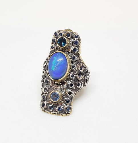 Opal & Sapphire Ring Silver & Gold