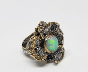 Opal Flower Ring Sterling Silver & 14k Gold