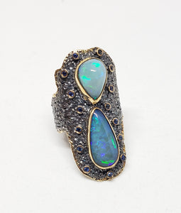 Opals & Sapphire Ring Sterling Silver & Gold