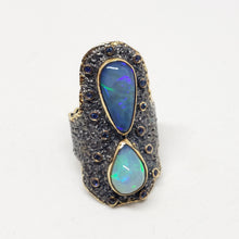 Load image into Gallery viewer, Opals & Sapphire Ring Sterling Silver & Gold