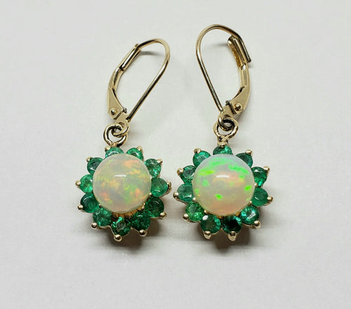 Opal & Emerald Earrings 14k Gold