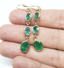 Load image into Gallery viewer, Emerald 3 Drop Earrings 14k Gold