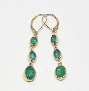 Emerald 3 Drop Earrings 14k Gold